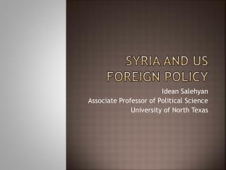 Syria and US Foreign Policy