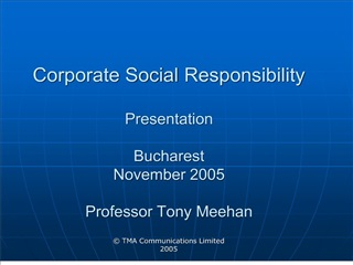 Corporate Social Responsibility Presentation Bucharest Novem
