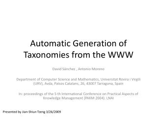 Automatic Generation of Taxonomies from the WWW