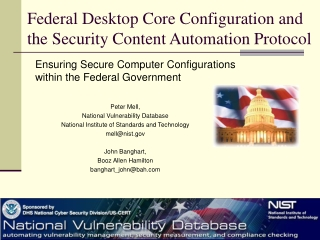 Federal Desktop Core Configuration and the Security Content ...