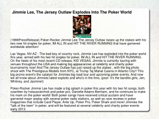 Jimmie Lee, The Jersey Outlaw Explodes Into The Poker World