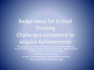 Badge Ideas for Critical Thinking Challenges completed to acquire Achievements