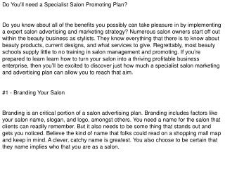 Salon Marketing Plan