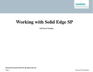 Working with Solid Edge SP