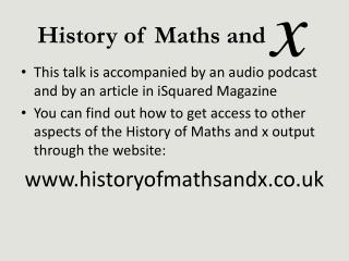 This talk is accompanied by an audio podcast and by an article in iSquared Magazine