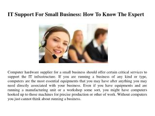 IT Support For Small Business