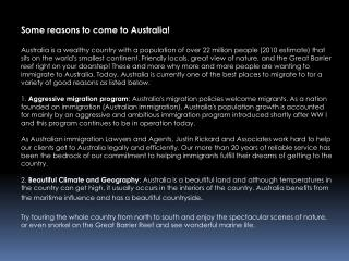 Some reasons to come to Australia