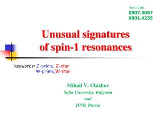 Unusual signatures  of spin-1 resonances
