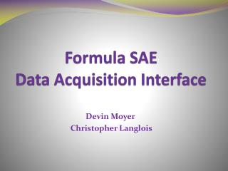 Formula SAE  Data  Acquisition  Interface