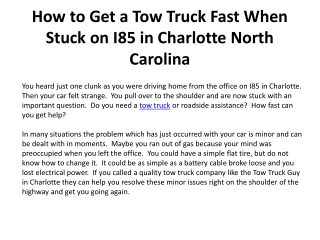 How to Get a Tow Truck Fast When Stuck on I85 in Charlotte N