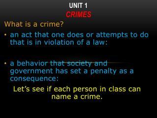 Unit 1 Crimes