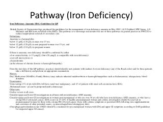 Pathway (Iron Deficiency)