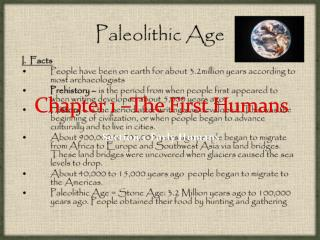 Chapter 1 –The First Humans
