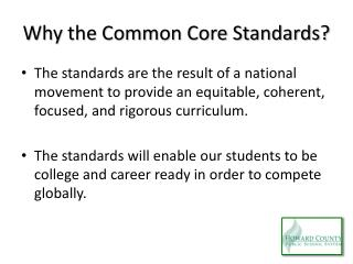 Why the Common Core Standards?