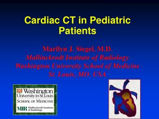 Cardiac CT in Pediatric Patients