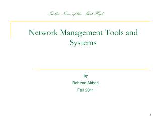 Network Management Tools and Systems