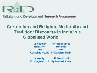 Corruption and Religion, Modernity and Tradition: Discourse in India in a Globalised World