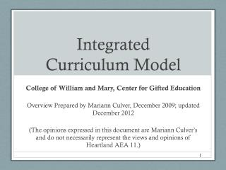 Integrated  Curriculum Model