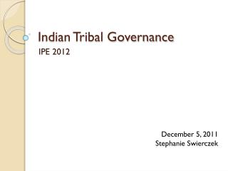 Indian Tribal Governance