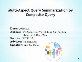 Multi-Aspect Query Summarization by Composite Query