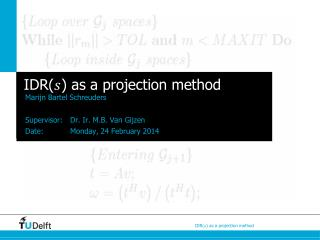 IDR( ) as a projection method