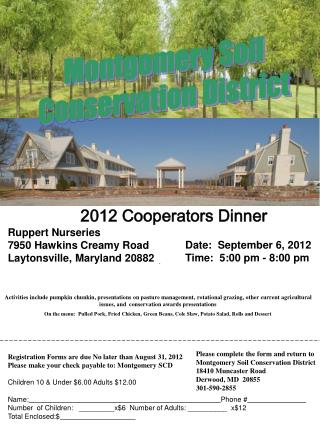 Registration Forms are due No later than August  31, 2012