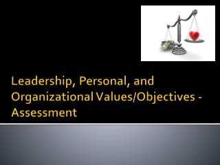 Leadership, Personal, and Organizational Values/Objectives - Assessment