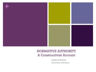 NORMATIVE AUTHORITY  A  Constructivist  Account