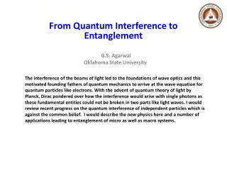 From  Quantum  Interference to  Entanglement