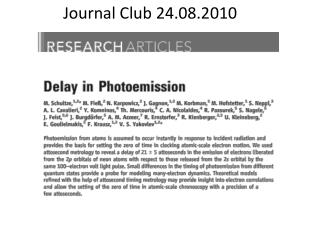Journal Club 24.08.2010