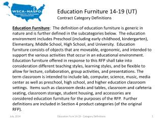 Education Furniture 14-19 (UT) Contract Category Definitions
