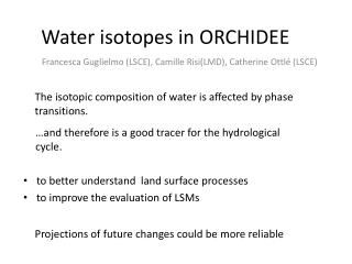 W ater  isotopes  in ORCHIDEE