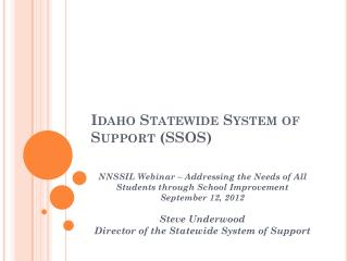 Idaho Statewide System of Support (SSOS)