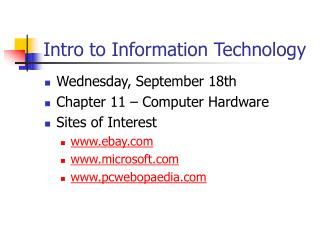 Intro to Information Technology