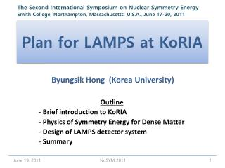 Plan for LAMPS at  KoRIA