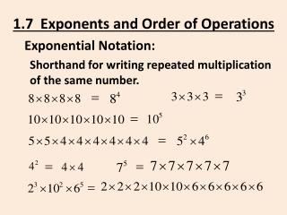 1.7  Exponents  and Order of Operations