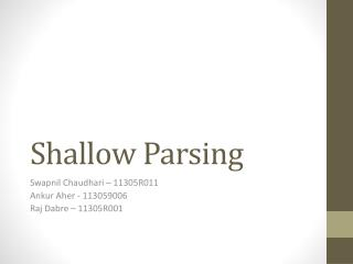 Shallow Parsing