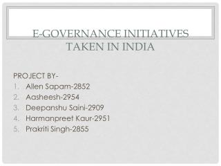 E-GOVERNANCE INITIATIVES TAKEN IN INDIA