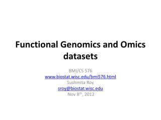 Functional Genomics and  Omics  datasets