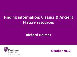 Finding information: Classics & Ancient History resources