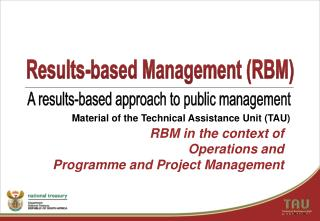 RBM in the context of Operations and Programme and Project Management