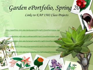 Garden ePortfolio, Spring 2006