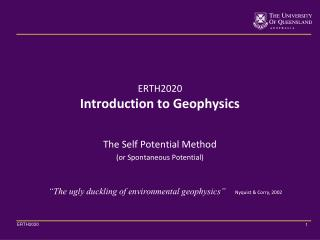 ERTH2020 Introduction to Geophysics