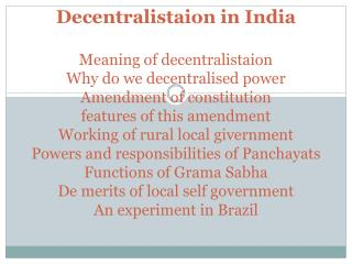Meaning of Decentralisation
