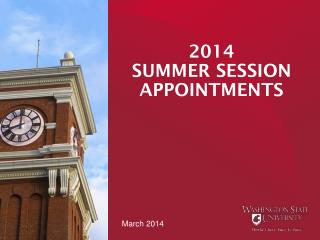 2014  SUMMER SESSION APPOINTMENTS