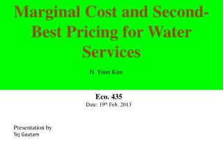 Marginal  Cost and Second-Best Pricing for Water  Services