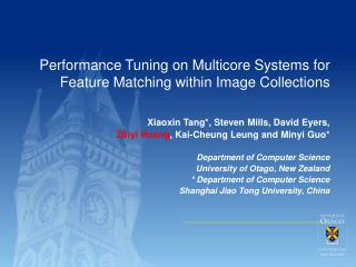 Performance Tuning on Multicore Systems for Feature Matching within Image Collections