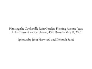 Planting the Cookeville Rain Garden, Fleming Avenue (east of the Cookeville Courthouse, 45 E. Broad – May 13, 2010 (phot