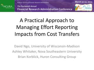 A Practical Approach to Managing Effort Reporting Impacts from Cost  Transfers