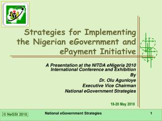 Strategies for Implementing the Nigerian eGovernment and ePayment Initiative